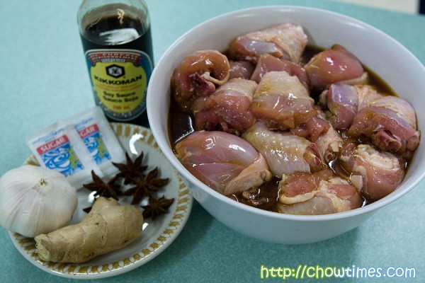 Jane pre-marinated the chicken with some soy sauce, cooking wine and ...