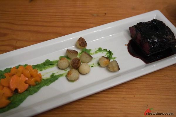 Venison shortloin. Blueberry demi. Baby potato. Mint pea puree. Honey tarragon dijon wu tang carrots.