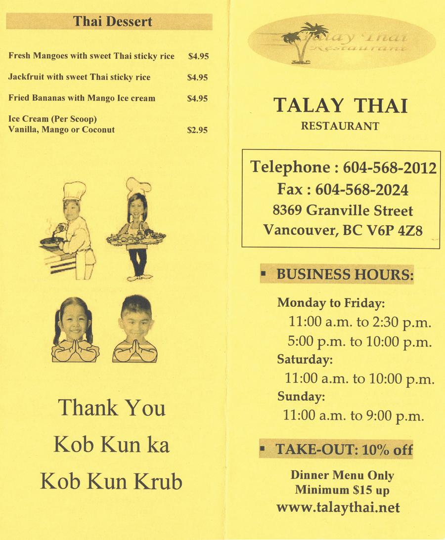 Talay Thai Restaurant Menu