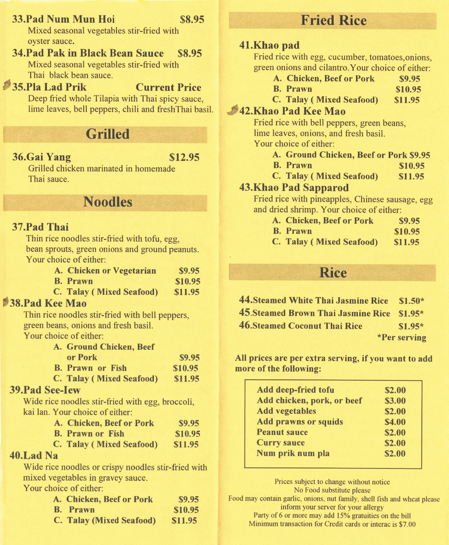 Thai Food Translated To English
