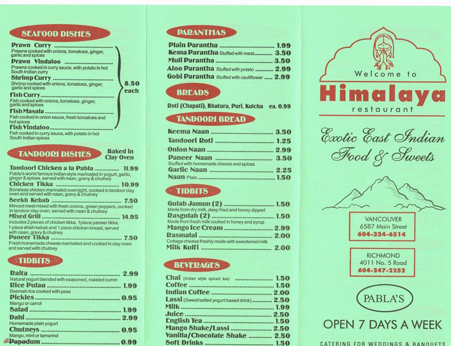 Himalaya Restaurant Richmond Menu