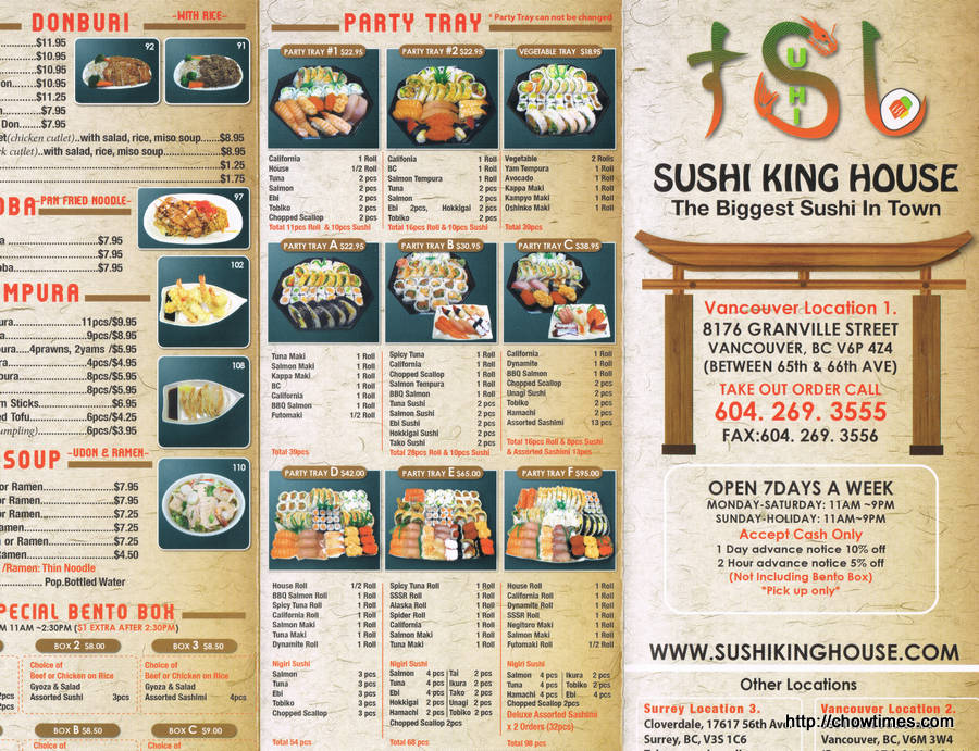 Sushi king house the biggest sushi in town for King s fish house menu